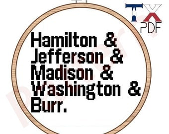 Hamilton cross stitch pattern - founding fathers Helvetica