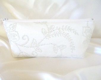 Beaded Satin Clutch - White Satin Clutch - Bridesmaid Makeup Bag - Wedding Clutch -  Bridesmaid Clutch - Bridal Clutch - Brides Purse