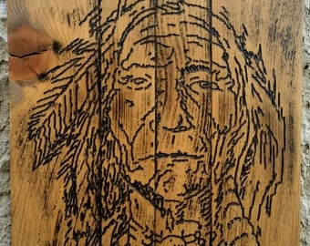 Native American Art, Hand Carved Wood Art, War bonnet, Indian Chief, Native American Wood, Native American, Wall Art, Home Decor