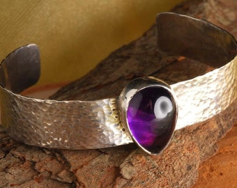 amethyst pear shaped cuff bracelet