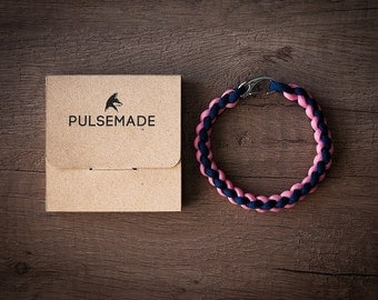 Men's bracelet-blue night-pink unisex-Pulsemade Weave Collection-Handmade paracord 550 Bracelet Mens-Womens Midnight-Pink