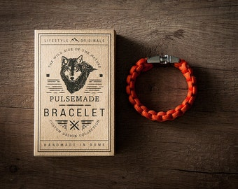 Men's bracelet-orange woman unisex in Paracord 550-Pulsemade Classic Collection-Handmade paracord mens bracelet-Womens Orange