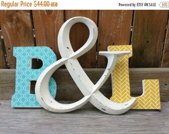 On Sale Decorative letters, letter set, personalized letters, teal and yellow with ampersand