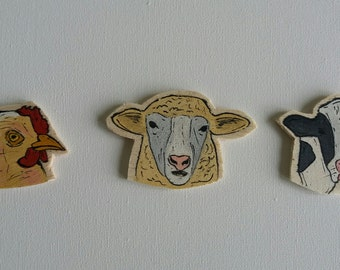 Farm Animal Magnets, Cow Magnet, Sheep Magnet, Chicken Magnet,Handmade Magnets,Wooden Magnets