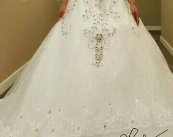 SAMPLE SALE Handmade Crystal Dentelle Princess Bridal Gown w/ Sparkling Swarovski Crystal Edged Veil