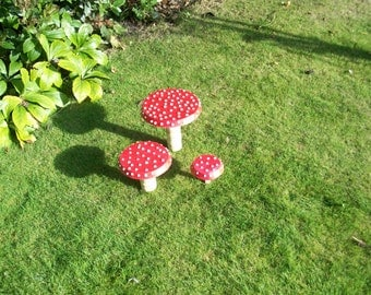 Set of 3 Red Toadstool Hand Made From Wood