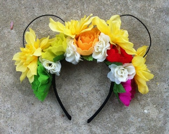 Yellow Floral Wire Mickey Ears