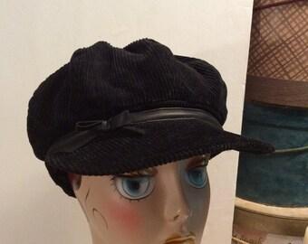 50% Off Sale Vintage Augus T Black Cotton Corduroy Newsboy Hat