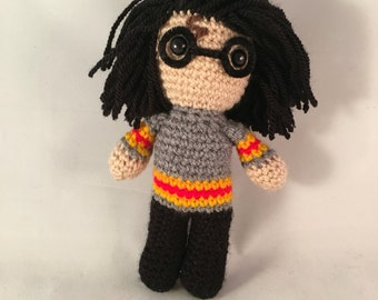 Harry Potter Amigurumi Figure Doll with glasses and lightning scar