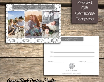 INSTANT DOWNLOAD - Photography Studio Gift Certificate- 7x5 Marketing Photoshop Template - GC101