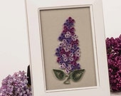 Single plum violet purple lilac bloom, framed. Paper quilling lilac blossom design { paper quill art } unique gift, home item Rochester NY
