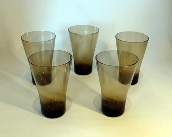 5 smoked glass tumblers - original from the 1970's