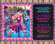 """Barbie Spy Squad Birthday Invitations- Barbie Spy Squad Birthday Party- Barbie Birthday- Spy Invitations - 5"""" x 7"""" size- Digital Item"""