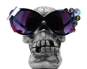 DEATHWISH sunglasses, cat eye sun glasses, black cateye glasses, vintage Swarovski gemstones, goth, pinup, Elvira, punk rock, Halloween