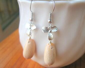 Seashell Earrings, Brown Seashell Dangle Earrings, Beach Earrings, Beach Jewelry