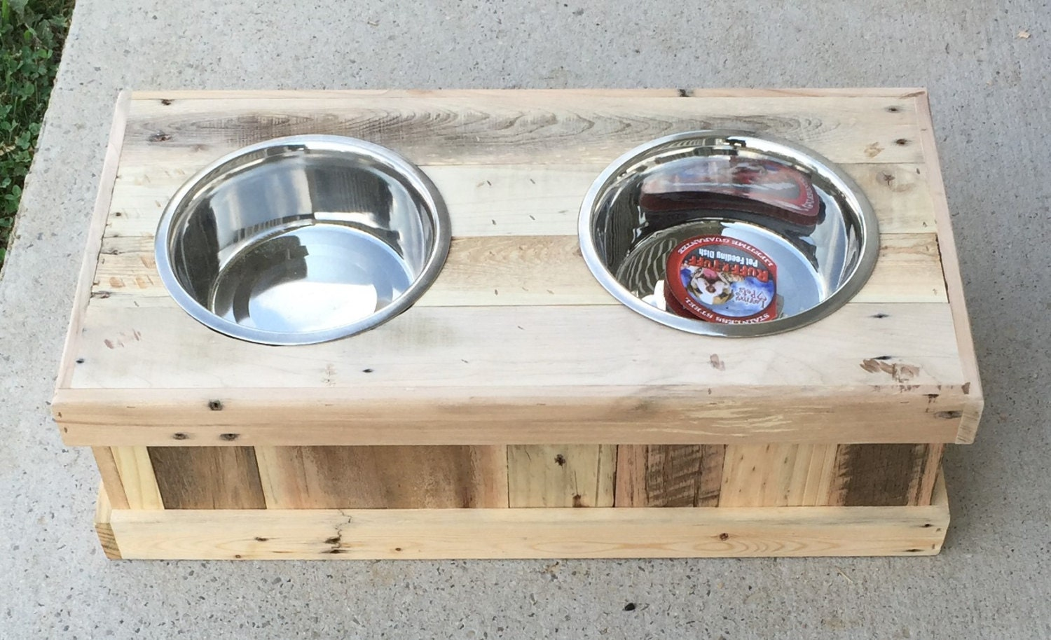 dog food bowl stand reclaimed wooden custom made stand. Black Bedroom Furniture Sets. Home Design Ideas