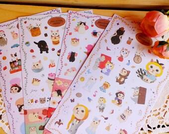 Cute Kawaii Korean CHOO CHOO CAT Sticker Pack Set, Version 3/ Blue/8 Sheets