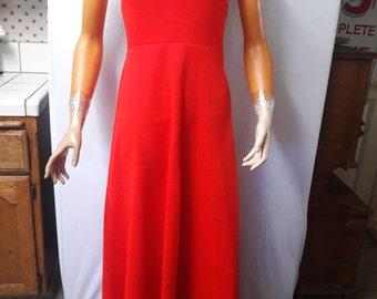 Vintage 1970s Fritzi of California Bright Red Knit Halter Dress