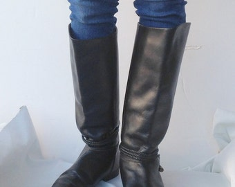 sz 7 M  vintage flat black leather riding boots