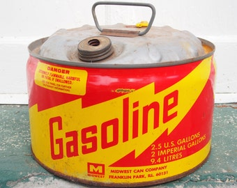 Vintage Metal Gas Can, Gasoline Can, Rusty Gas Can