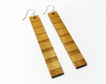 Wood Earring - Dangle Wooden Earring Pair - Yellow Heart Wood - Lightweight Long Hanging Earring - 2.5 inches