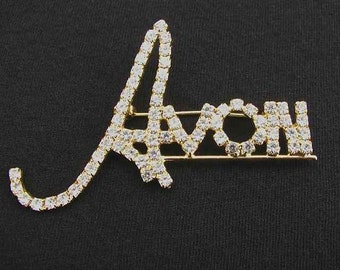 Vintage Avon Promotional Clear Rhinestone and Gold Tone Pin