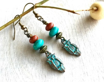 Owl earrings  Dangle earrings Bohemian earrings  Turquoise earrings  Rustic earrings