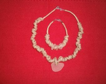 Hand-made sea glass necklace and bracelet set