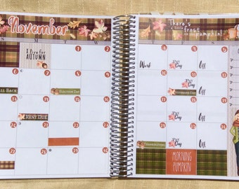 November Monthly View Kit Planning Reminder Stickers - Erin Condren, KikkiK, Filofax Planners and Midori Notebooks 2085