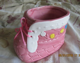 Vintage Baby Shoe Bootie Planter Pink With White, Yellow, And Blue
