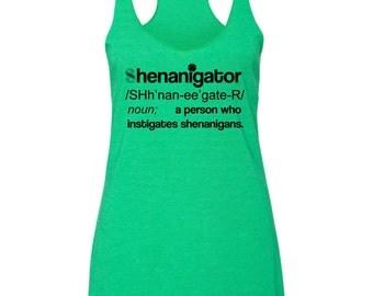 Shenanigator- Irish dictionary - funny st patricks day tanktop - Green tanktop for Paddys Day