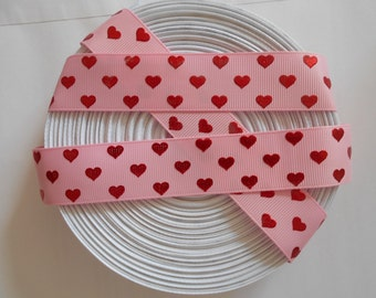 """Pink Red Hearts Valentines Love Girls hair bows grosgrain ribbon hairbows 1 to 5 yards 1"""""""