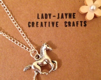 """Childrens horse necklace. Horse lover. mad about horses, riding or ponys. Novelty jewellery. 16"""" silver-plated fine chain and horse pendant"""