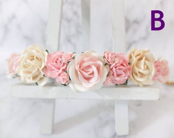 Flower crown - ivory and pink flower headpiece - hair accessories - floral hair wreath - halo