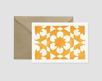 Linocut Moroccan Tile Greeting Card Block Print Zellij Blank Inside Set of 6 Geometric Pattern Kraft Envelope Handmade Card