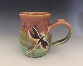 Dragonfly, Coffee Mug, Wheel Thrown, Hand Painted.