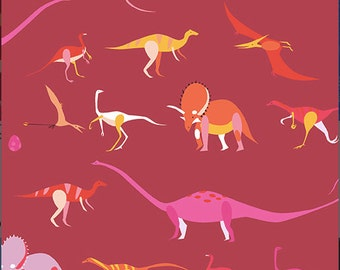 Andover - Natural History - A-7834-N - Lizzy House - Dinosaur - Red - Pink