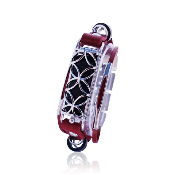 Flex Bracelet Fusion - Red/Silver - made from stainless steel and leather