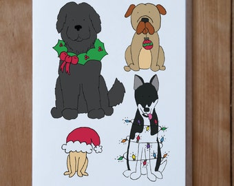 Dog Christmas Card, Animal Christmas Card, Animal Card, Dog Card
