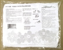 Herrschners Stamped Pillowcase - Posey Patch 11-1450 - Cross Stitch Standard Pillow Case Flowers Floral Embroidery