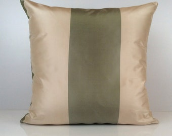 Lime Green and Beige Pillow, Throw Pillow Cover, Decorative Pillow Cover, Cushion Cover, Accent Pillow, Silk Blend, Stripe Pillow, Decor.