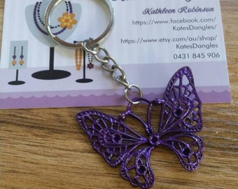 Butterfly keyring, purple butterfly, purple keyring, silver keyring