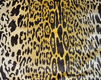 SCALAMANDRE LEOPARDO Leopard Silk Velvet Fabric 4 Yards Ivory Gold Brown