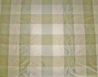 SCALAMANDRE BARANZELLI LILIANA Silk Taffeta Check Fabric 1 Yard Quilter Pillow Crafter  Remnant Willow Green Cream