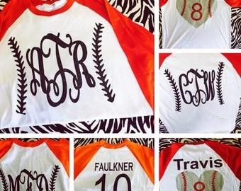 Baseball monogram raglan t shirt