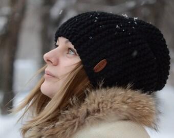 Knitted Hat / Slouchy Hat / Knit Hat / Men's hat / Women's Hat / Knit Beanie / Wool Blend Hat / Handmade Knitted Hat / Black Hat / Beanie