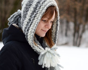 Chunky Knit Hat / Hand Knit Hat-Cowl / Knit Hood Hat / Knitted Women Hat / Knitted Hat / Winter Hat