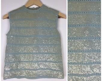 SALE, SALE, SALE, Vintage 1960s baby blue sequin shell crop top evening tank flapper fringe 50s 60s iridescent sequin beaded sweater M1144