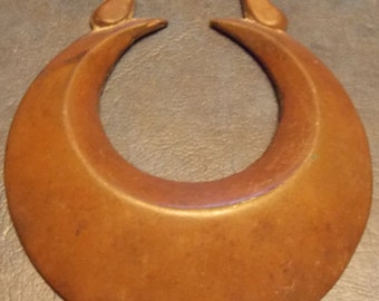Genuine Antique Victorian HORSE BRASS CRESCENT Moon design Made in England