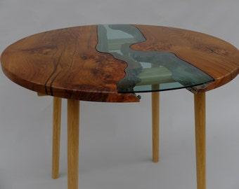 Elm and Oak Dining Table, 'Wood and Water' - Modern, Seats Four, Custom Sizes Made to Order
